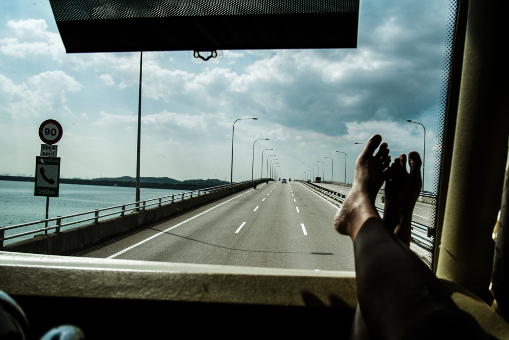 Across the causeway to Kuala Lumpur. Tuas link, Singapore
