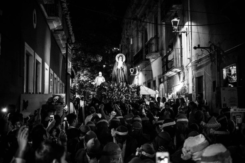 Our Lady of Solitude on her float, Jesus and the Virgin Mary follow close behind.