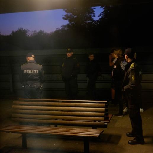 Police on the station platform in Rødekro, Denmark.