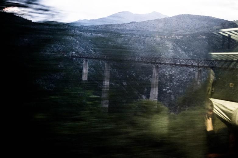 Mala Rijeka viaduct, Montenegro, rushing through the evening