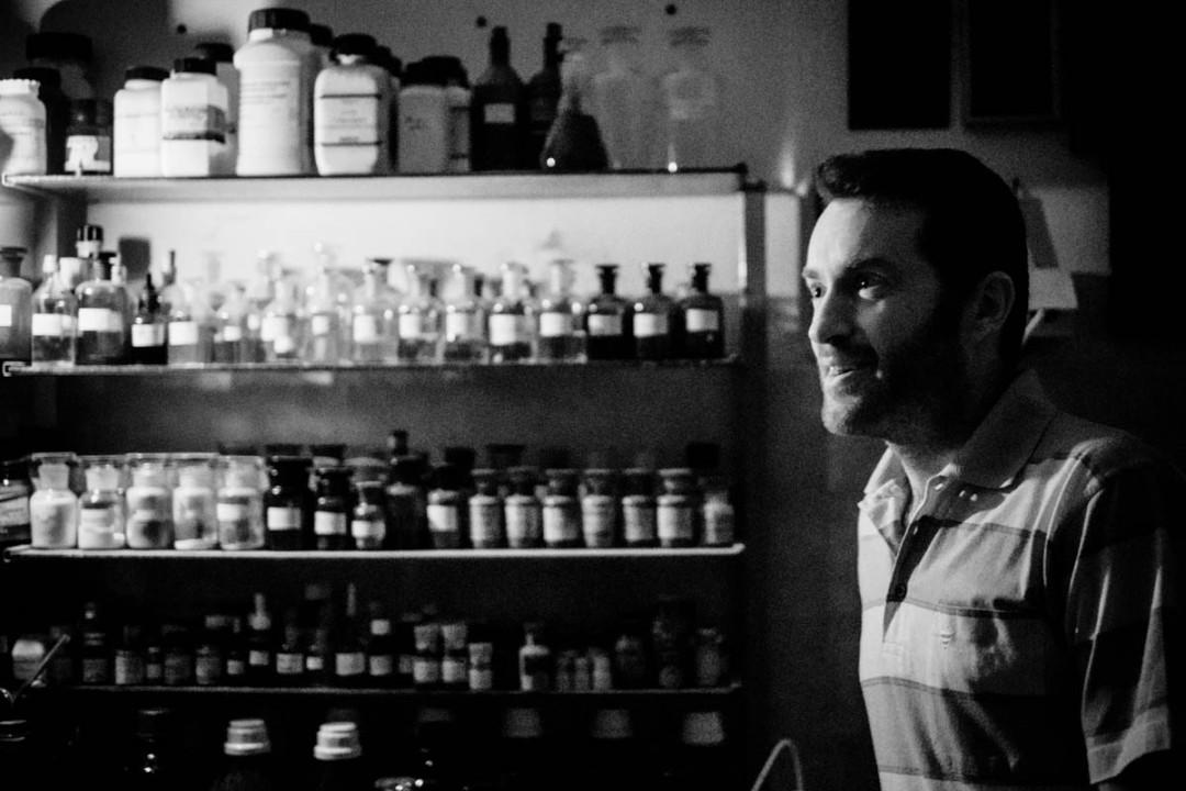 Darko, who is a chemist by profession, in his mad scientist lab/darkroom
