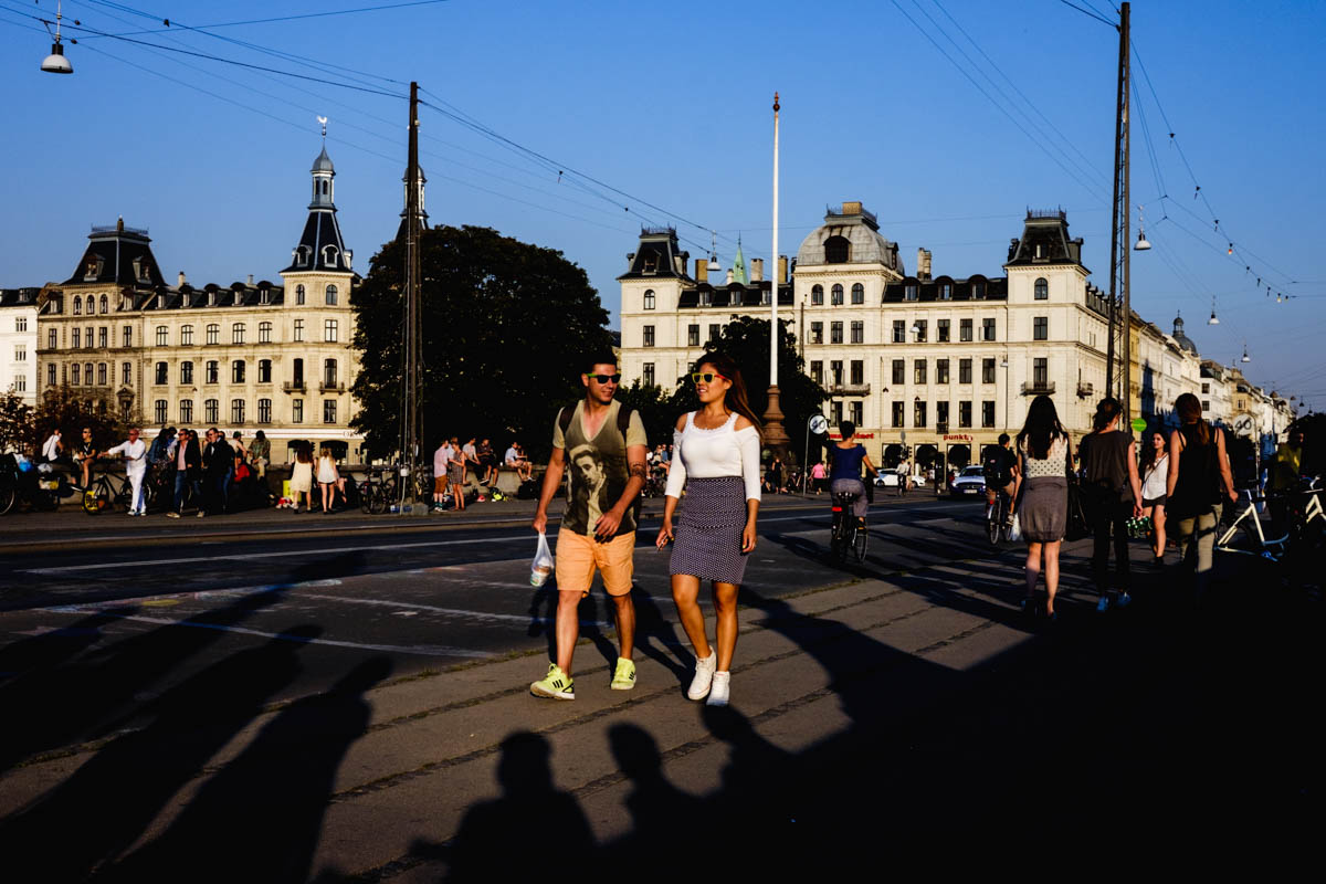 One more full color image for the road. Long summer shadows on Dronning Louises Bro. Copenhagen, Denmark.