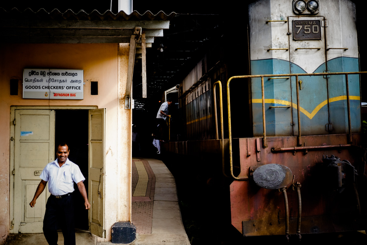 Drivers change shifts at Colombo Fort station.