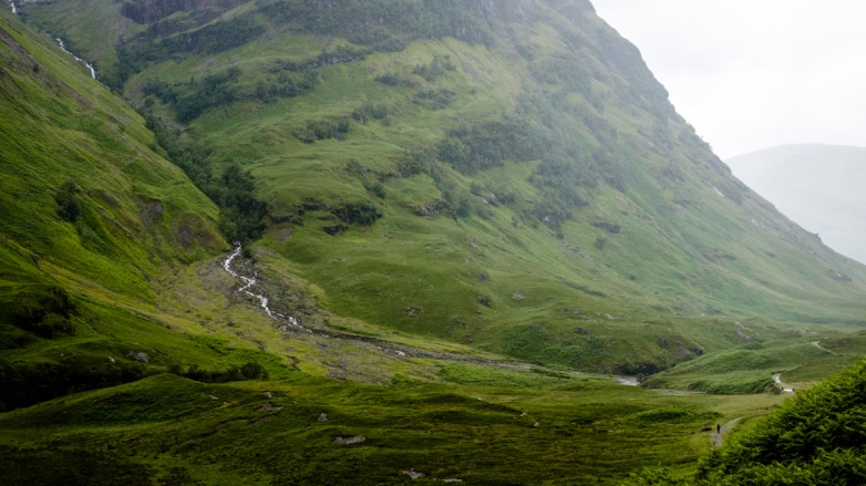 A glen in the Scottish Highlands. If you look carefully in the lower left corner, you can see a 3-pixel high person on the trail. The Highlands, or what 5 minutes of them I registered, were remarkable beyond any words I have.