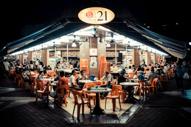 A hawker center in Tampines, a suburb in Singapore, by night